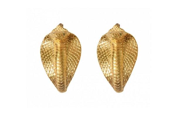 NATIA X LAKO Cobra Earrings front view.