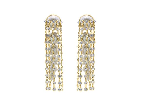 ISHARYA Limelight Pearl & Chain Long Earrings
