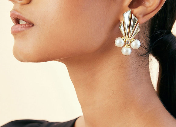 ISHARYA Triple Pearl Earrings worn.