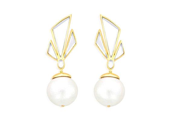 ISHARYA Demi Goddess Irregular Mirror and Pearl Stud Earrings Front View