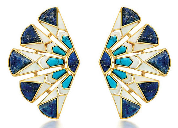 ISHARYA Borderless Fan Stud Turquoise Enamel Earrings