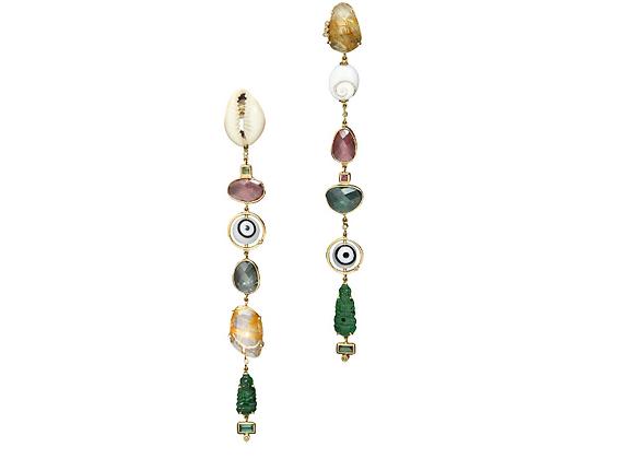 TSURA Jade Buddha Earrings front view.