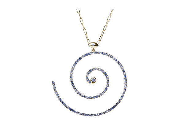 TSURA Blue Sapphires Pavé Spiral Necklace front view.