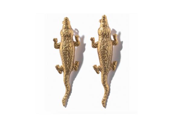 NATIA X LAKO Medium Crocodile Earrings front view.