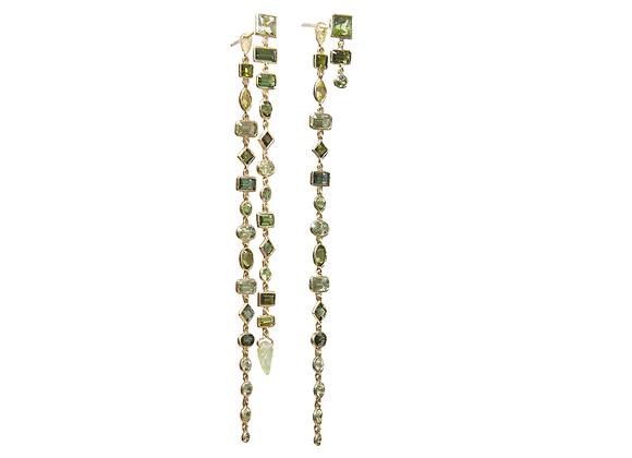 TSURA Green Tourmaline Earrings front view.