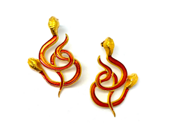 NATIA X LAKO Red Gold Snakes Earrings front view.