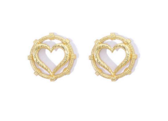 NATIA X LAKO Heart Earrings front view.