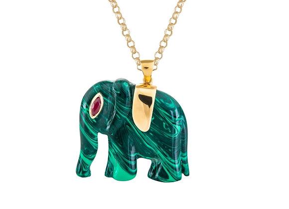 CÉDILLE Elephant Malachite Necklace front view.