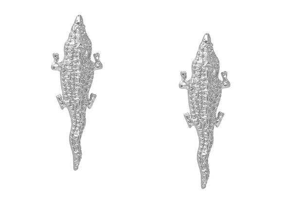 NATIA X LAKO Small Silver Crocodile Earrings front view.