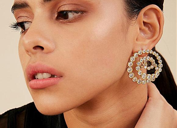 ISHARYA Swirl Statement Earrings worn.