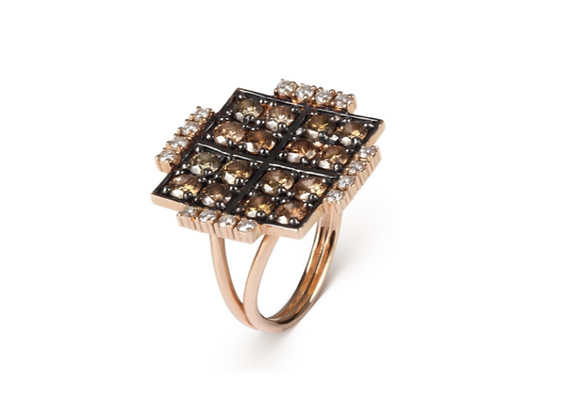 CÉDILLE Ring Flat Square front view.