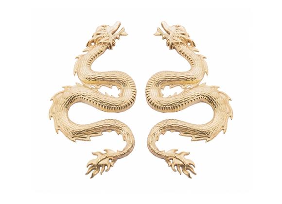 NATIA X LAKO Small Dragon Earrings front view.