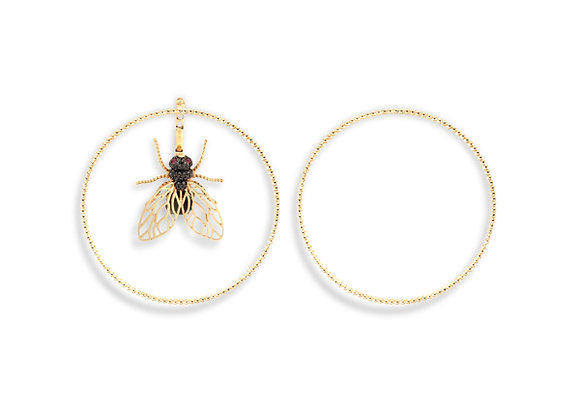 CÉDILLE Earrings Creole Fly front view.