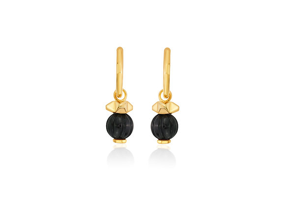 ISHARYA Black Onyx Bead Hoops