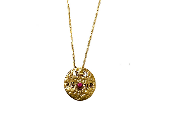 SAIKI Amour Necklace Pink Sapphire front view.