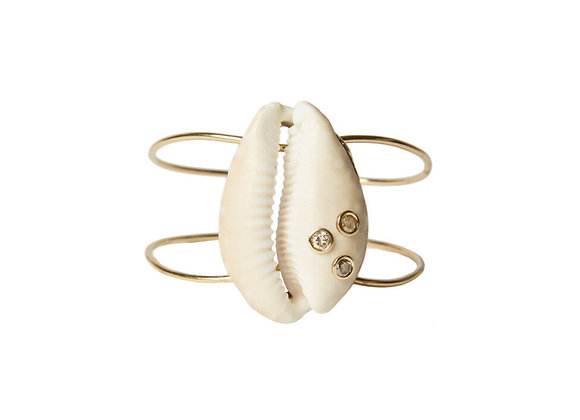 TSURA Cowrie Shell Cuff front view.