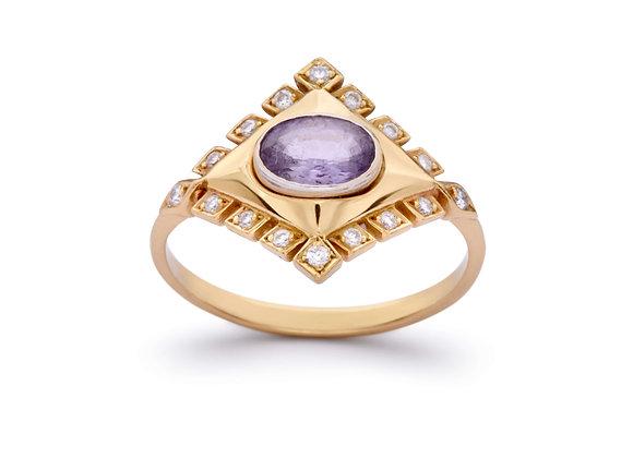 ELE KARELA Purple Sapphire Jagged Rhombus Ring side view.