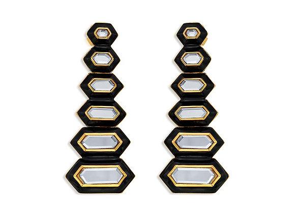 ISHARYA Borderless Mirror & Enamel Long Earrings front view.