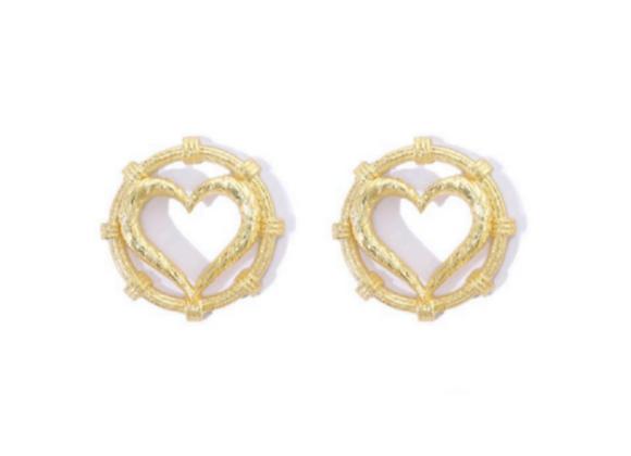 NATIA X LAKO Round Heart Earrings front view.