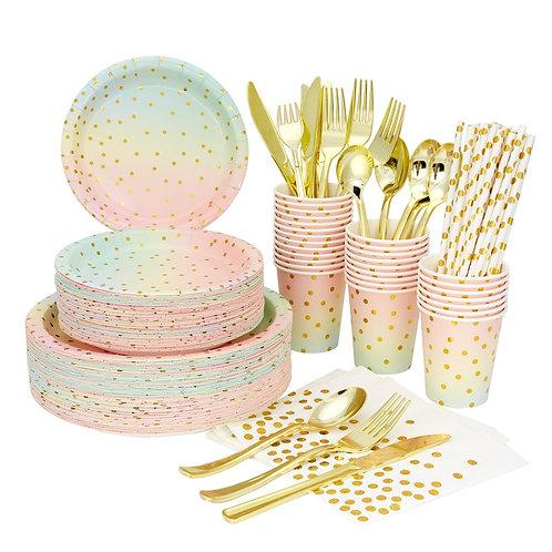 Polka Dot Rainbow Disposable Tableware Set