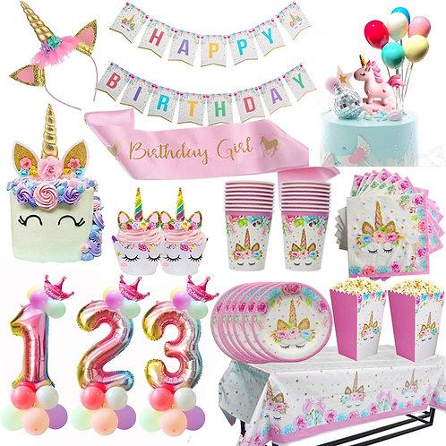 Unicorn Birthday Party Decors Disposable Tableware Kit