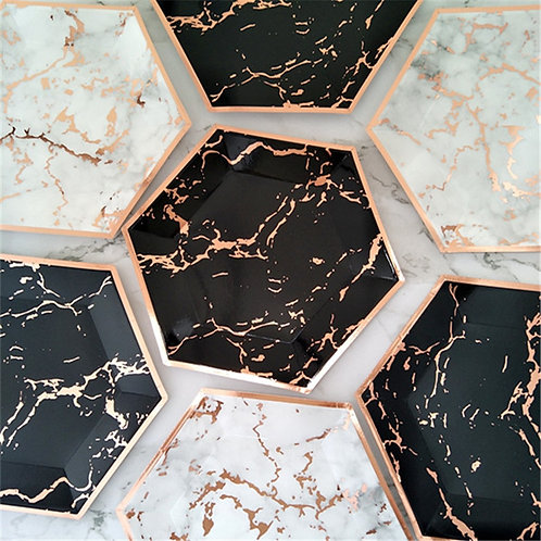 Marble Theme Party Disposable Paper Plates Cups Napkins