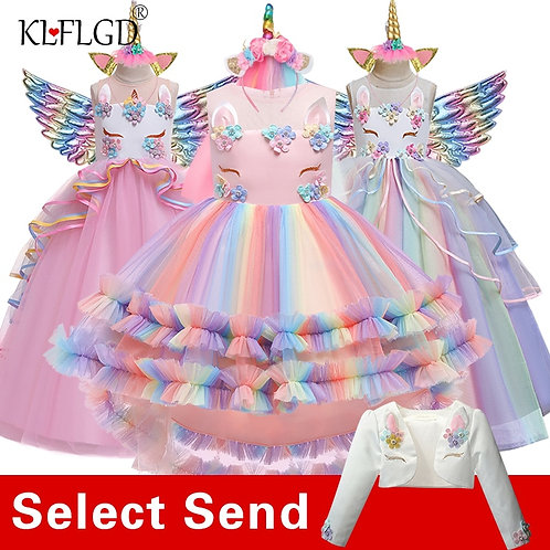 Flower Girl Unicorn Rainbow Wedding Party Dress Girl