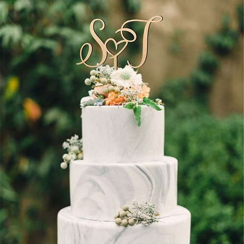 Custom Initial Letters Cake Topper Personalized Name