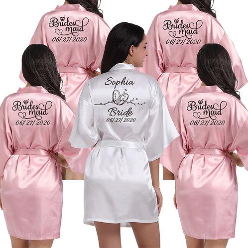 Custom Logo Wedding Date Name Faux Silk Kimono Robe Women