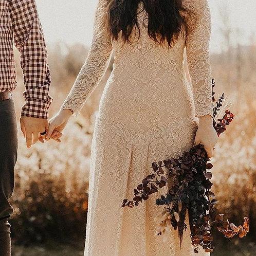 Champagne Rustic Wedding Dress #1182