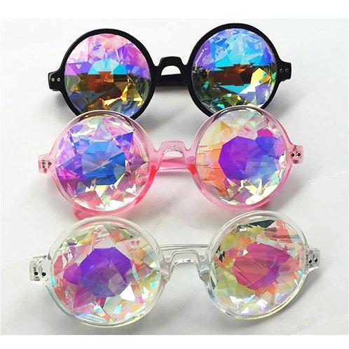 1pcs Clear Round Glasses Kaleidoscope Eyewear