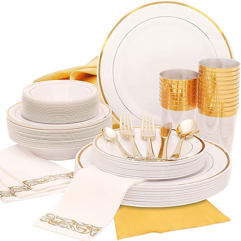 25 People | Golden Plastic Party Disposable  Tableware