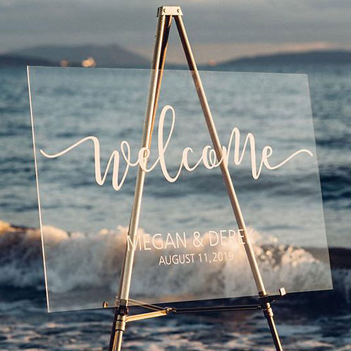 Personalized Wedding Welcome Sign,Clear Acrylic Wedding Sign