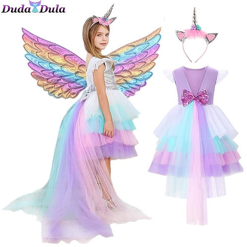 Sequin Dress Unicorn Party Girl Dress With Tail