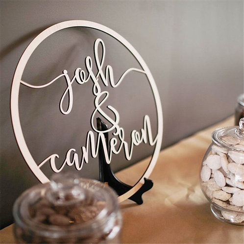 Custom Wedding Wooden Circle Sign Personalized
