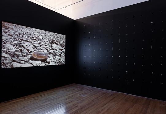 "Rosemary Holliday Hall, ""River of Shadows"" (left) and ""Liquidation,"" 2020. Photo: Jonathan Castillo"