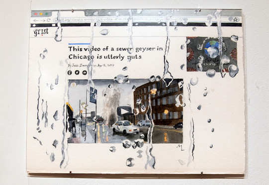 """Meredith Leich, """"Grist: Sewer Geyser"""" from """"Chicago and the Rain,"""" 2020. Photo: Eileen Ryan"""