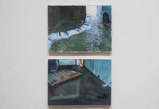 """Meredith Leich, """"Lincolnwood Garage Sandbags"""" (top) and """"Masani's Basement in South Chicago"""" from """"Chicago and the Rain,"""" 2020. Photo: Eileen Ryan"""