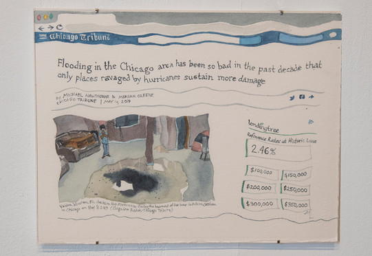 """Meredith Leich, """"Chicago Tribune: Ravaged by Hurricanes"""" from """"Chicago and the Rain,"""" 2020. Photo: Eileen Ryan"""