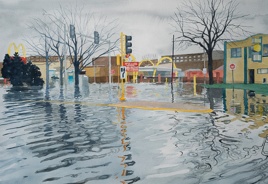 """Meredith Leich, """"Des Plaines McDonald's"""" from """"Chicago and the Rain,"""" 2020. Photo: Meredith Leich"""