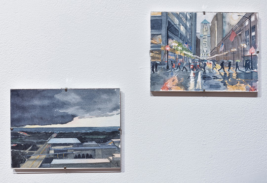 """Meredith Leich, """"Storm Brewing Over Lake Michigan"""" (left) and """"Rainy Day by the Chicago Stock Exchange"""" from Chicago and the Rain,"""" 2020. Photo: Jonathan Castillo"""