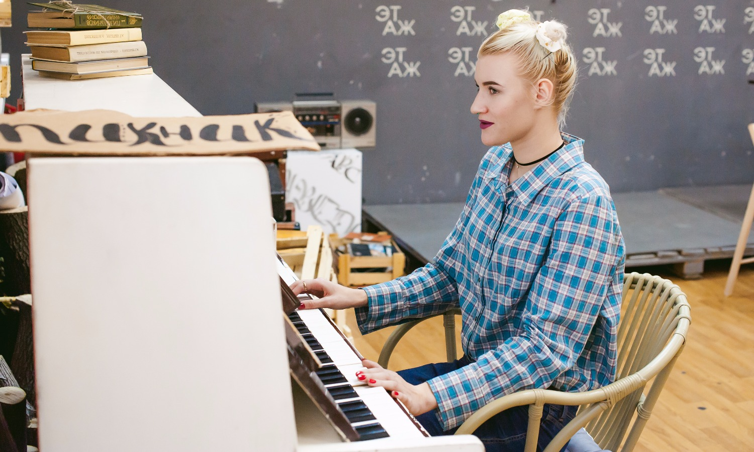 Hipster Girl Playing A Vintage White Piano_edited