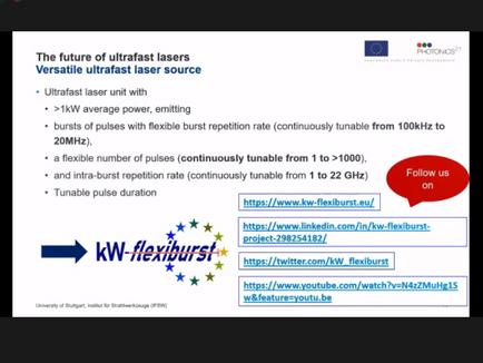 kW-Flexibursts Dr. Marwan Abdou Ahmed, presents at LASE HOT Topics at Photonics West 2021