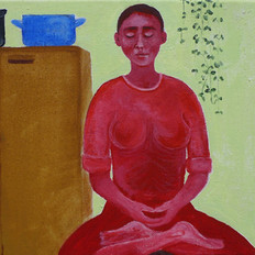 Woman is Sitting in the Kitchen