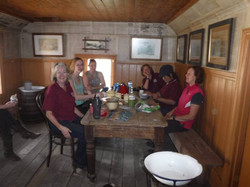 Inside the log cabin having a tea!