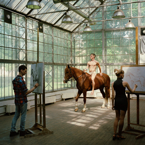 Painting session with a horse. Battle painting pavilion of Professor Vladimir Zagonek. Academy of Fine Arts. Saint Petersburg | 100 Years On | 2014