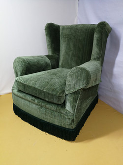 Green velvet arm chair