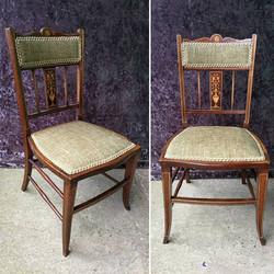 Pair green velvet chairs