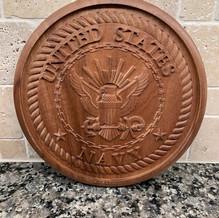 "Solid Mahogany U.S. Navy plaque -12"""