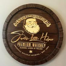 Santas Little Helper Whiskey Barrell Head